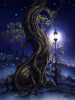 Art Print featuring the painting Sylvia And Her Lamp At Dusk by Curtiss Shaffer