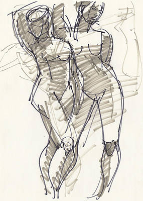 Drawing - Sylvia And Kath by Judith Kunzle
