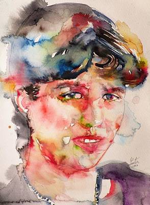 Mixed Media - Sylvia Plath - Watercolor Portrait by Fabrizio Cassetta