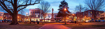 Confederate Monument Photograph - Symbol Of History - Bentonville Confederate Statue And Downtown Panorama by Gregory Ballos