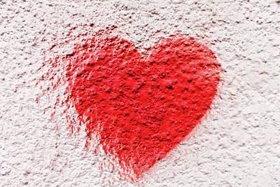 Symbol Of Love Painted On White Brick Wall Art Print