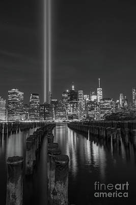 911 Memorial Photograph - Symbols Of Freedom Bw by Michael Ver Sprill
