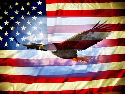 Usa Flag And Eagle Art Print