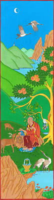 Tibetan Buddhism Drawing - Symbols Of Long Life by Berty Sieverding