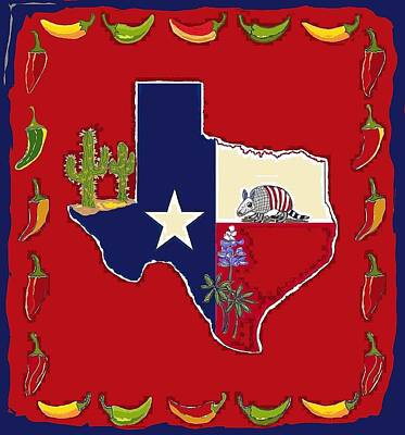 Digital Art - Symbols Of Texas by Suzanne Theis