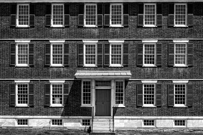 Photograph - Symmetrical New England Style House  -  1830bricknewengbldgblkwhi184665 by Frank J Benz