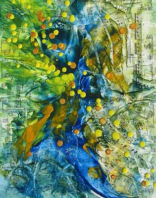 Encaustic Painting - Symphony For Spring by Louise Adams