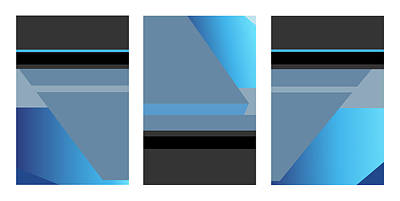 Digital Art - Symphony In Blue - Triptych 1 by David Hargreaves