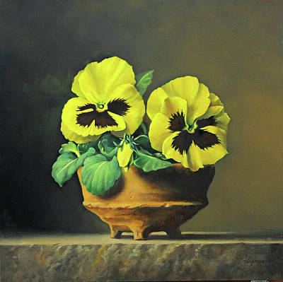 Yellow Flowers Painting - Symplicity by Pieter Wagemans