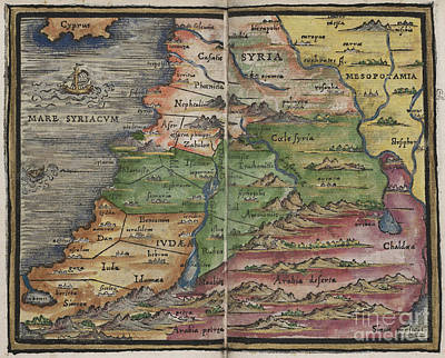 Photograph - Syria Map By Johannes Honter 1542 by Rick Bures
