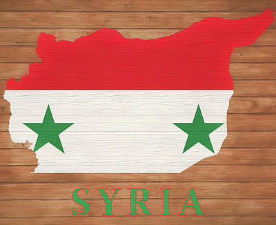 Mixed Media - Syria Rustic Map On Wood by Dan Sproul
