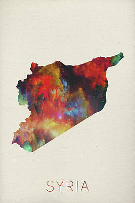 Syria Mixed Media - Syria Watercolor Map by Design Turnpike