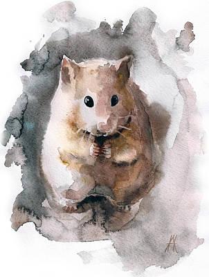 Hamster Drawing - Syrian Hamster by Nadezhda Appolat