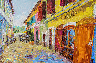 Painting - Szentendre Street With Restaurants by Judith Barath