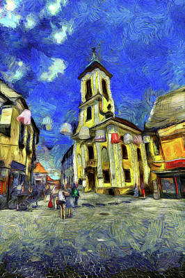 Mixed Media - Szentendre Town Budapest Van Gogh by David Pyatt