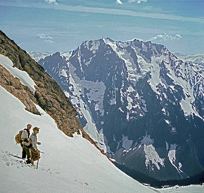 Photograph - T-04402 Fred Beckey And Joe Hieb After First Ascent Forbidden Peak by Ed Cooper Photography