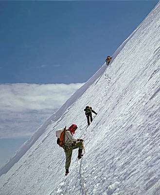Photograph - T-104106 Climbing Steep Ice On Mt. Baker 1957 by Ed Cooper Photography