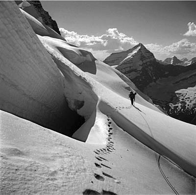 Photograph - T-202410 Bw Fred Beckey High On Berg Glacier by Ed Cooper Photography