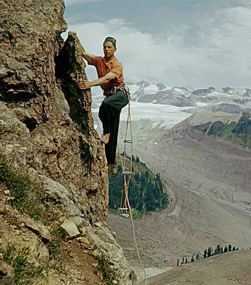 Photograph - T-902901 Fred Beckey Climbing by Ed Cooper Photography