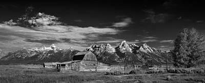 Teton Wall Art - Photograph - T A Moulton Barn Panorama B W by Steve Gadomski