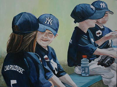 T- Ball Painting - T Ball Friends by Charlotte Yealey