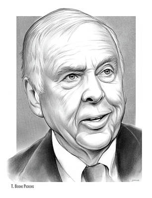 Drawing - T Boone Pickens by Greg Joens