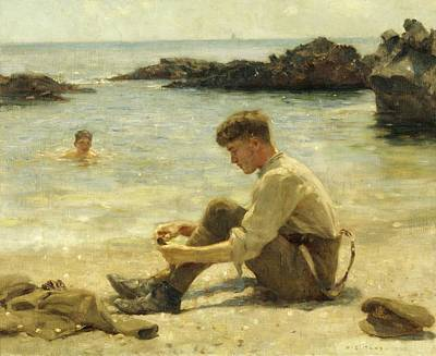 Painting - T. E. Lawrence As A Cadet by Henry Scott Tuke