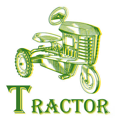 T Is For Tractor Print by Edward Fielding