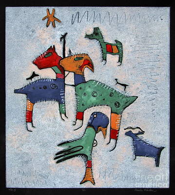 Llama Mixed Media - T. M. 5     No. 1 Of 2 by Pamela Iris Harden