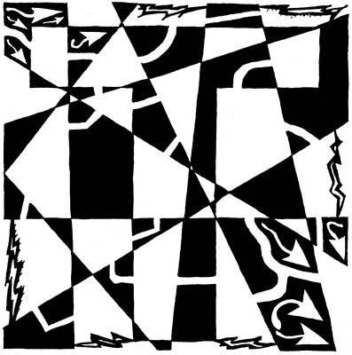 Alphabet Mazes Drawing - T Maze by Yonatan Frimer Maze Artist