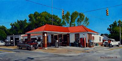 Gas Station Painting - T. R. Lee Service Station by Doug Strickland