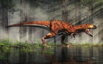 Triassic Digital Art - T-rex by Daniel Eskridge