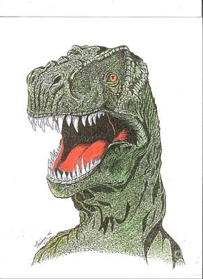 T Rex Drawing - T-rex Dinosaur by Bill Hubbard
