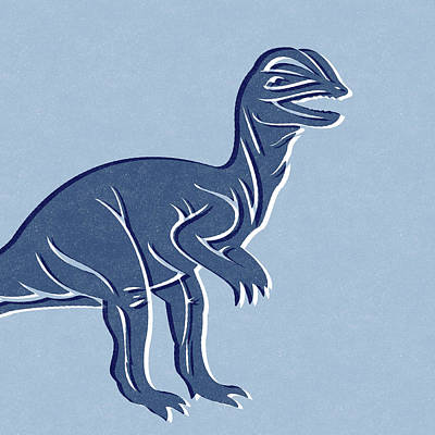Royalty-Free and Rights-Managed Images - T-Rex in Blue by Linda Woods