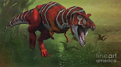 Mixed Media - T Rex In Swamp by Jerry L Barrett