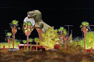 T-rex In The Desert Night Art Print
