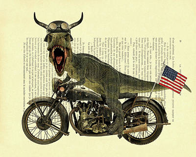 Dino Digital Art - T Rex Riding His Harley, Dictionary Print by Madame Memento