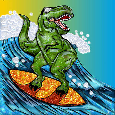 T Rex Surfing A Wave Art Print by Elaine Plesser