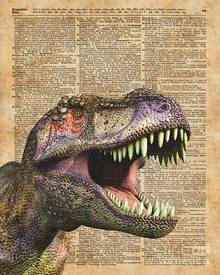 Extinct And Mythical Mixed Media - T-rex,tyrannosaurus,dinosaur Vintage Dictionary Art by Jacob Kuch