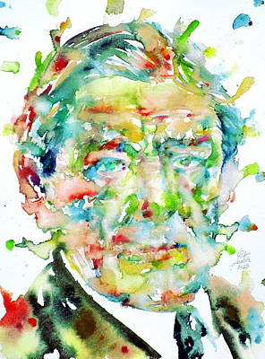 T. S. Eliot - Watercolor Portrait.2 Original by Fabrizio Cassetta