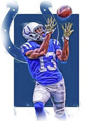 Indianapolis Mixed Media - T Y Hilton Indianapolis Colts Oil Art by Joe Hamilton