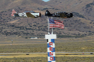Photograph - T6 Tango At Reno Air Races Home Pylon Finish Line by John King