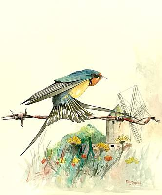 Painting - Ta' Kola Barn Swallow by Ray Agius
