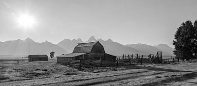 Photograph - T.a Moulton Barn Panoramic Black And White by John McGraw