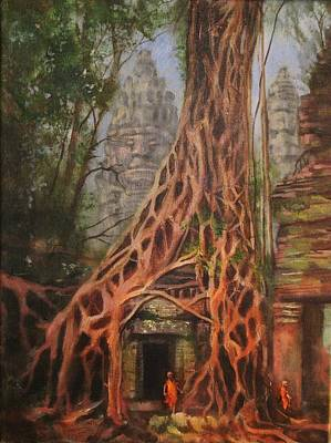 Cambodia Painting - Ta Prohm Cambodia by Tom Shropshire