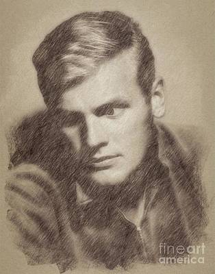 Hunters Drawing - Tab Hunter, Vintage Actor By John Springfield by John Springfield
