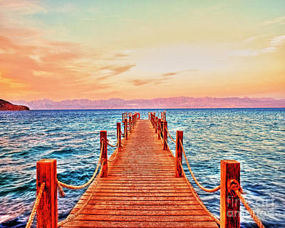 Taba Heights On The Red Sea Pier In The Evening Art Print