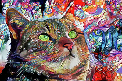 Digital Art - Tabby Cat Color Blast by Peggy Collins
