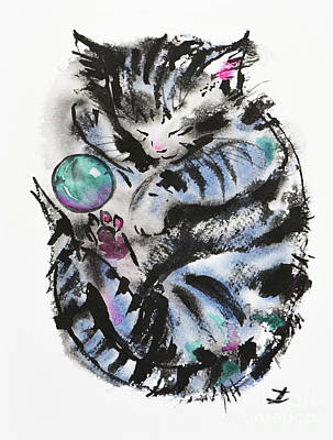 Tabby Dreams Art Print