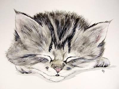 Gray Tabby Painting - Tabby Kitten by Carol Blackhurst